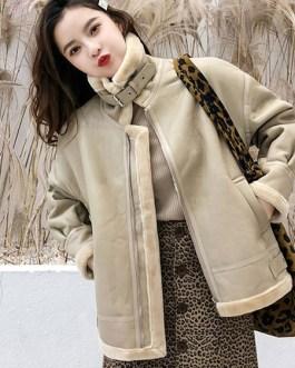 Turndown Collar Color Block Zipper Casual Pockets Street Wear PU Leather Jacket