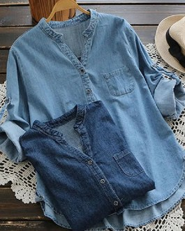 Casual Buttons Adjustable Sleeve Denim Blouse