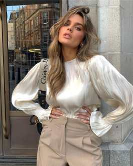 Fashion Solid Color Flare Sleeve Blouse