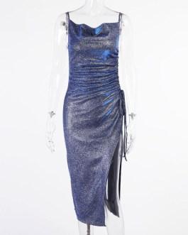 Mermaid Club Wear Evening Party Sequins High Split Maxi Dresses