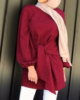 Puff Sleeve Solid Round Neck Bandage Casual Belted Blouses