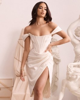 Sexy Short Sleeve Strapless Club Celebrity Runway Party Dresses