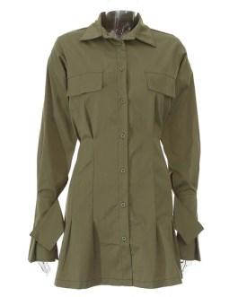 Shift Turndown Collar Buttons Long Sleeves Polyester Layered Midi Shirt Dresses