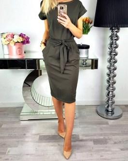 Simple Midi Dress – Short Cuffed Sleeves / Matching Fabric Belt