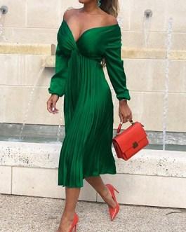 Versatile Wrap Top Pleated Skirt Dress
