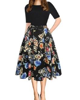 Vintage Style Floral Tea Length Dress