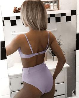 Vintage solid swimsuit High waist bikini set