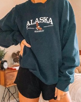 Casual Letter And Animal Pattern Pullover Sweatshirts