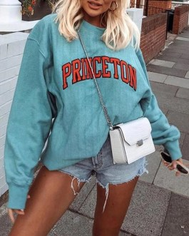 Casual Round Neck Loose Fit Pullover Sweatshirt