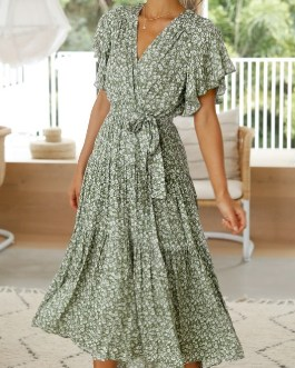 Casual print V-neck lace Ruffled short-sleeved floral dress