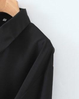 Contrast Color Tie Wrap Blouse