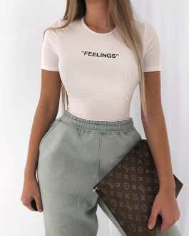 Fashion Round Neck Letter Embroidery Bodysuit