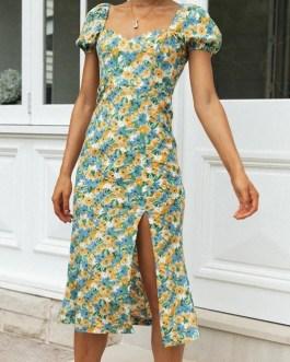 Floral print slit Slim lantern sleeve A-line midi dress
