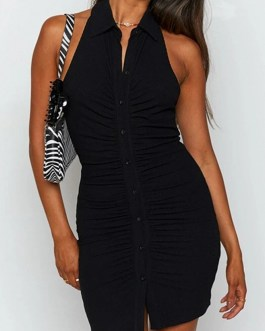 Hang neck backless button sexy dress
