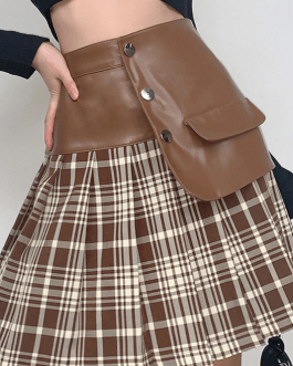 High street leather patchwork pleated skirts