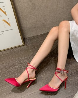 Pointed Toe Solid High Heel Shoes