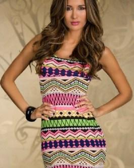 Sexy Bandage Ethnic Print Stripes Pencil Mini Dress