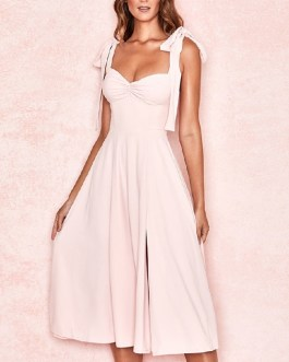 Sexy Spaghetti Strap Bow Strapless Runway Party Dresses