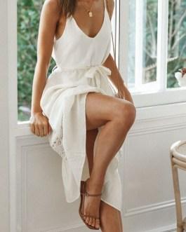 Sexy V-neck Casual high waist lace-up Fashion elegant dress