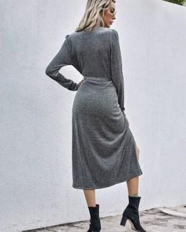 Solid Vintage V Neck Knitted Long Sleeve Dress