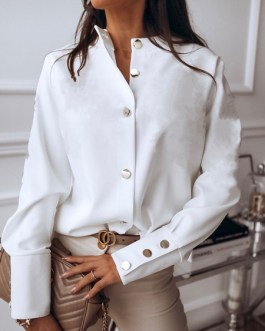 Blouse For Stand Collar Long Sleeves Buttons Chiffon Tops