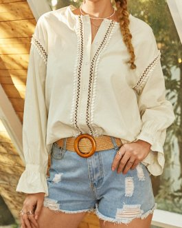 Bohemian Solid Color Patch Button Long Sleeve Casual Blouse