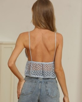 Cami Top Light Spaghetti Straps Neck Lace Sexy Top