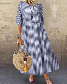Casual Loose Plaid Print O-Neck Half Sleeve Dress