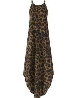 Leopard Animal Print Sleeveless High Low Hem Maxi Dress
