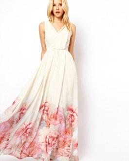 Maxi Dress Boho Chiffon V Neck Sleeveless Floral Printed Pleated Long Dress