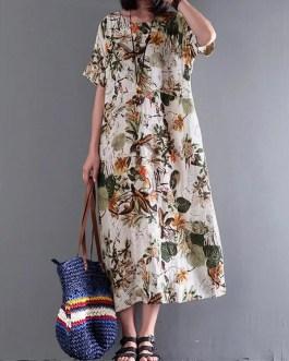 Retro Short Sleeve Cotton Floral Maxi Dress