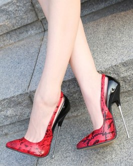Sexy High Heels Pointed Toe Snake Print Stiletto Heel Sexy Shoes