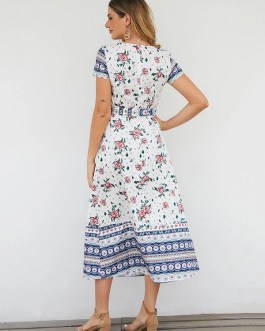 Short Sleeve V-neck Floral Print Maxi Dress