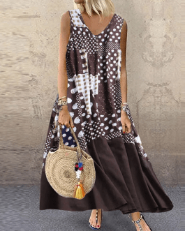 Sleeveless V-Neck Casual Loose Printed Patchwork Maxi Dress