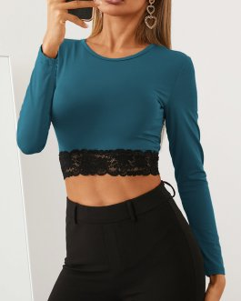 Solid Color Lace Patchwork Long Sleeve O-neck Crop Top