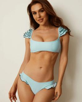 Solid Color Sweet Bikini Multi-Layers Ruffles Sweet Swimwear