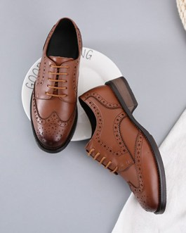 Trendy Oxfords Round Toe Cowhide Lace Up Puppy Heel Casual Leather Shoes