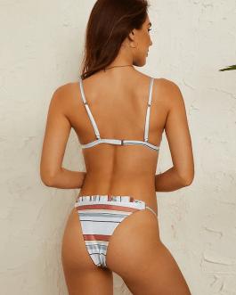 Triangle Striped Ruffles Trim Bikini Backless Swimwear