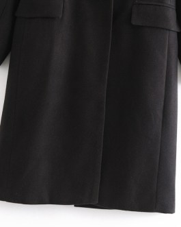 Turndown Collar Buttons Long Sleeve Casual Maxi Coat