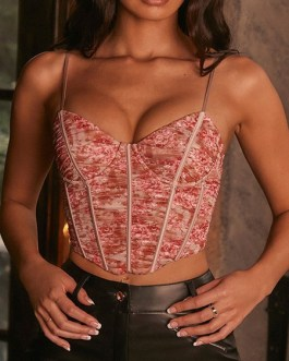 Camisole Straps Neck Sleeveless Printed Polyester Sexy Tops