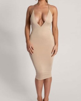 Club Dress Khaki Straps Neck Sleeveless Polyester Backless Sexy Dress Sexy Chains Bodycon Dress