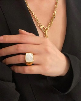 Geometric Rectangle Shell Ring Fashion Retro Jewelry