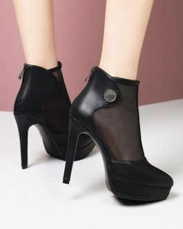 Pointed Toe Metal Details Stiletto Ankle Boots