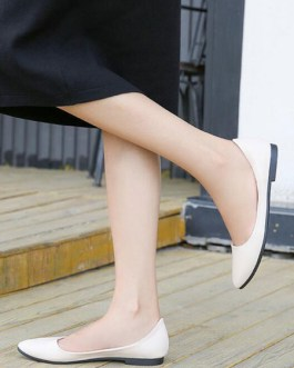 Pointed Toe PU Leather Daily Casual Ballerina Flat Shoes