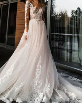 Wedding dresses a line v neck long sleeve lace applique tulle bridal gowns with chapel train
