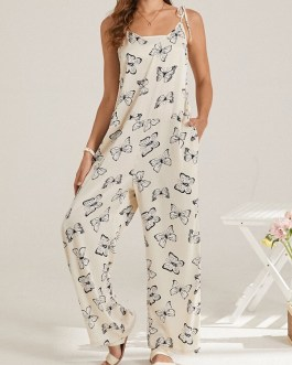 Butterfly Print V-neck Knotted Strap Casual Jumpsuit with Pocket