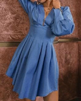 Chic V Neck A-Line Long Sleeve Denim Dress
