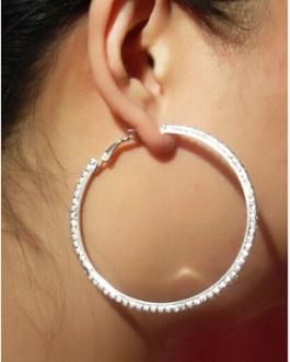 Crystal Rhinestone Dangle Hoop Earring