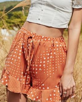 Dots Print High Waist Drawstring Short Pants