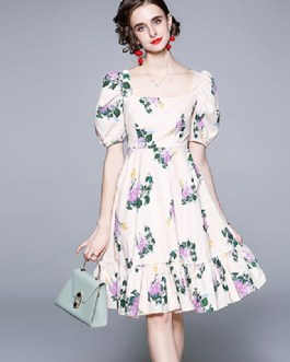 Elegant Floral Printed Midi Fairy Dress